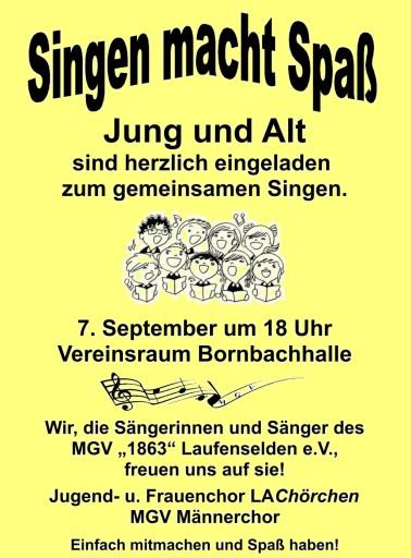 Singen macht Spaß @ Bornbachhalle Vereinsraum